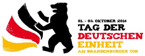 Ein Foto zum Tag der deutschen Einheit 2016: Abgebildet ist das Logo vom Tag der deutschen Einheit 2016, sowie die Eckdaten der Veranstaltung.