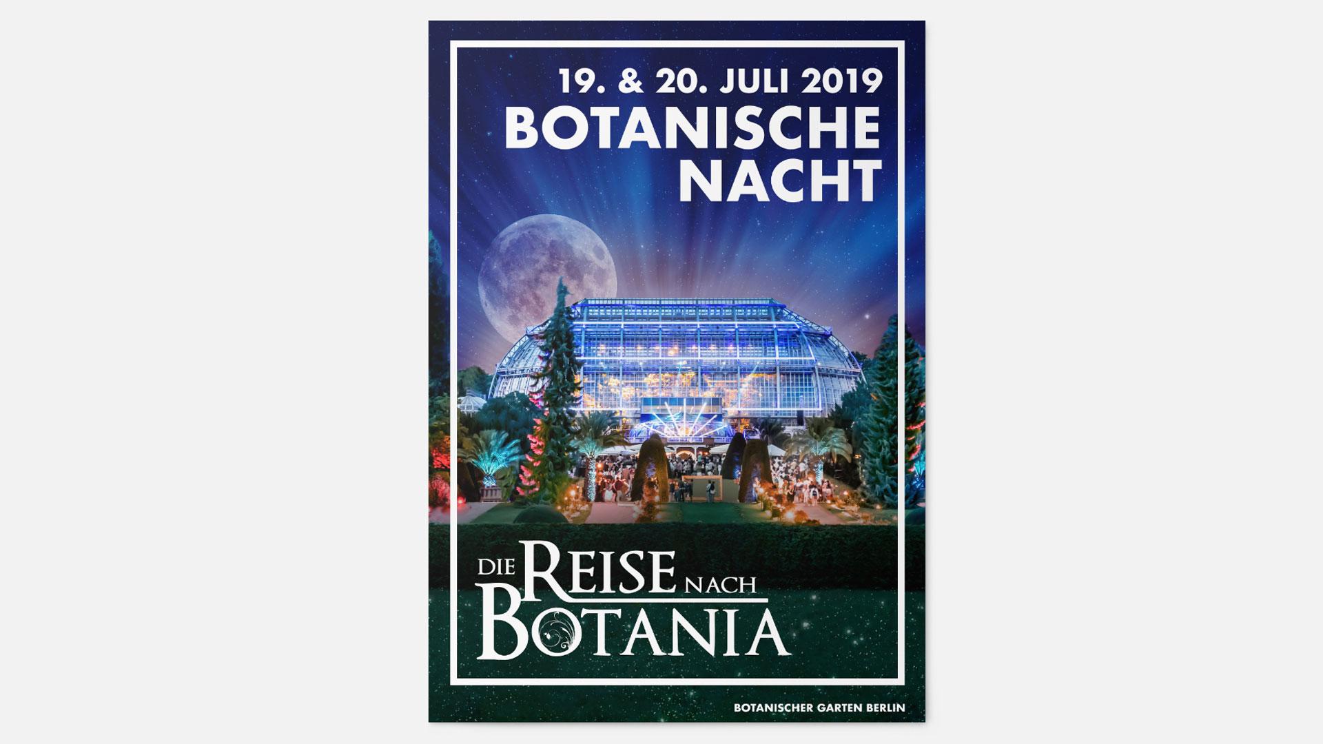 Mockup von einem Flyer für die Botanische Nacht 2019 auf weißem Hintergrund.