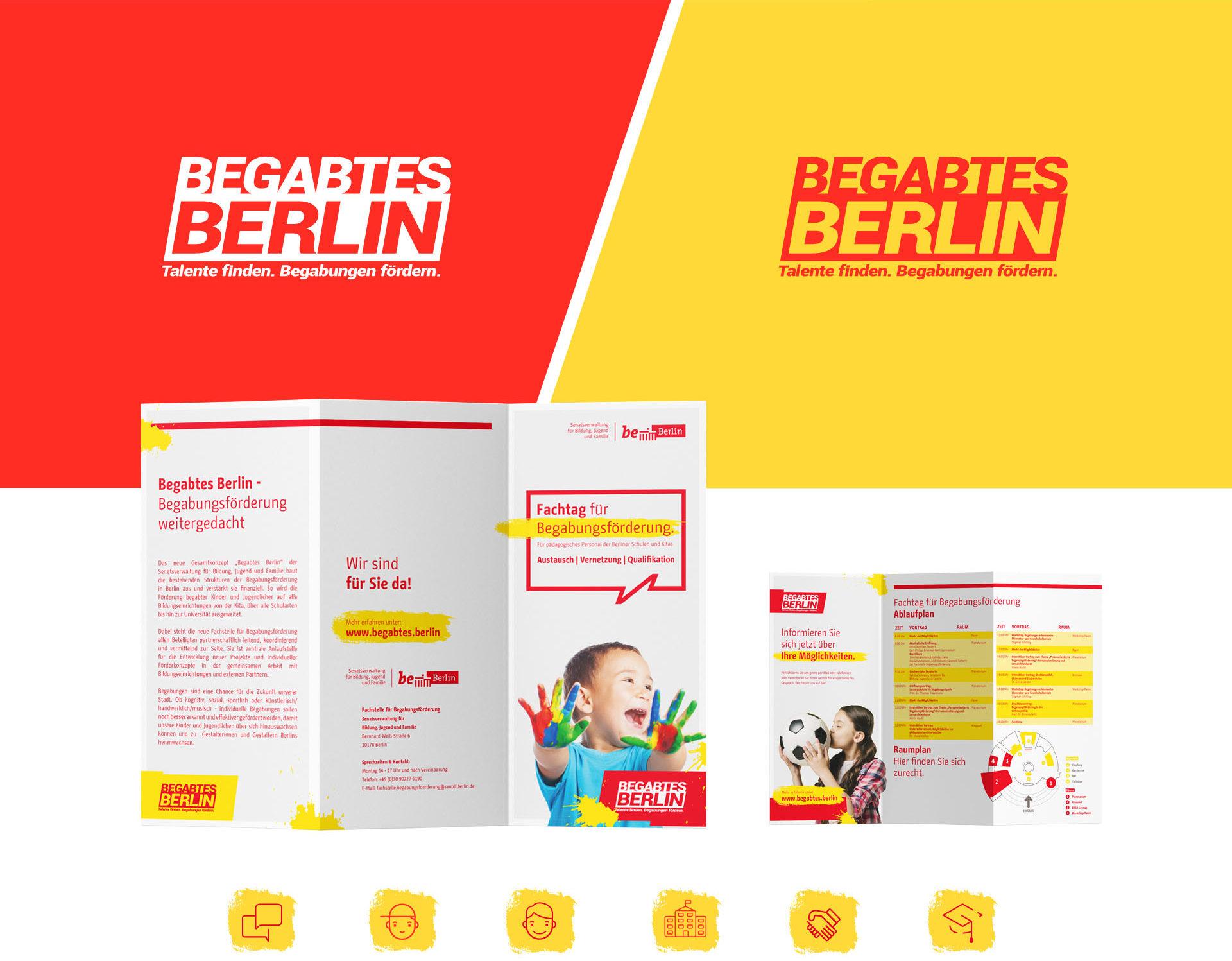 Beispiele für das Design von Begabtes Berlin. Zu sehen sind verschiedenfarbige Hintergründe, Flyer und Icons. Primärfarben sind Rot, Gelb und Weiß.