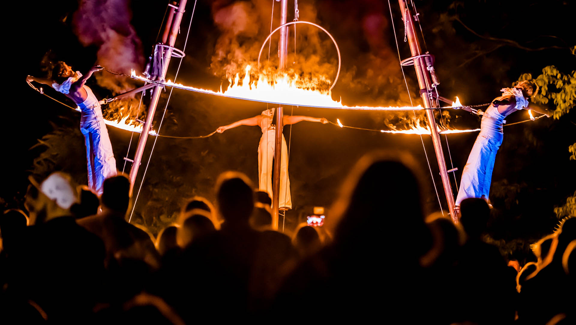 Feuershow bei der Botanischen Nacht bei Nacht.