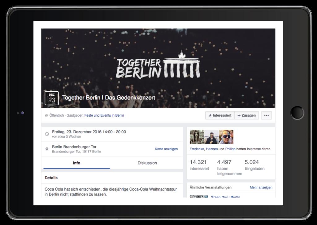 Mockup von einem iPad mit der Facebook-Seite für das Together Berlin Gedenkkonzert auf transparentem Hintergrund.