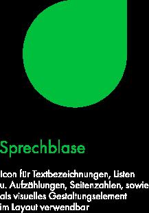 Felix1 Icons als Schmuckelemente/Orientierungshilfe: Zu sehen ist eine grüne Sprechblase.