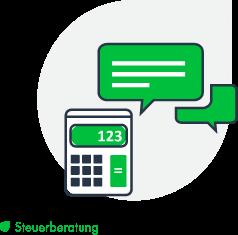 Felix1 Icons für verschiedene Bereiche: Steuerberatung. Zu sehen ist ein Taschenrechner und Sprechblasen.