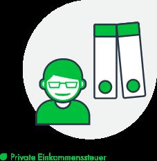 Felix1 Icons für verschiedene Bereiche: Private Einkommenssteuer - Zu sehen ist ein Mensch mit zwei Ordnern.