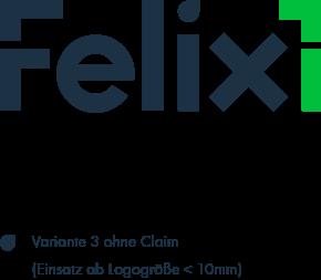 Felix1 Logovariante 1 ohneClaim in den Hausfarben Dunkelblau und Grün.