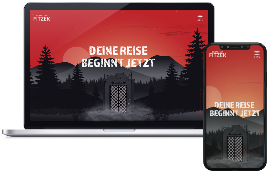 Mockups zu der Referenz Sebastian Fitzek: Zu sehen ist seine Website auf verschiedenen Endgeräten (Laptop und Handy).