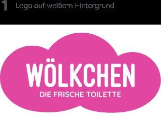 Wölkchen Referenz-Material: Zu sehen ist die Entwicklung des Wölkchen-Logos in verschiedenen Varianten. Hier in den Hauptfarben, Pink und Weiß