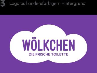 Wölkchen Referenz-Material: Zu sehen ist die Entwicklung des Wölkchen-Logos in verschiedenen Varianten. Hier in Lila
