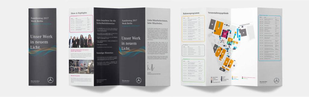 Mockup von zwei Flyern für ein Mercedes-Benz Event auf weißem Hintergrund.