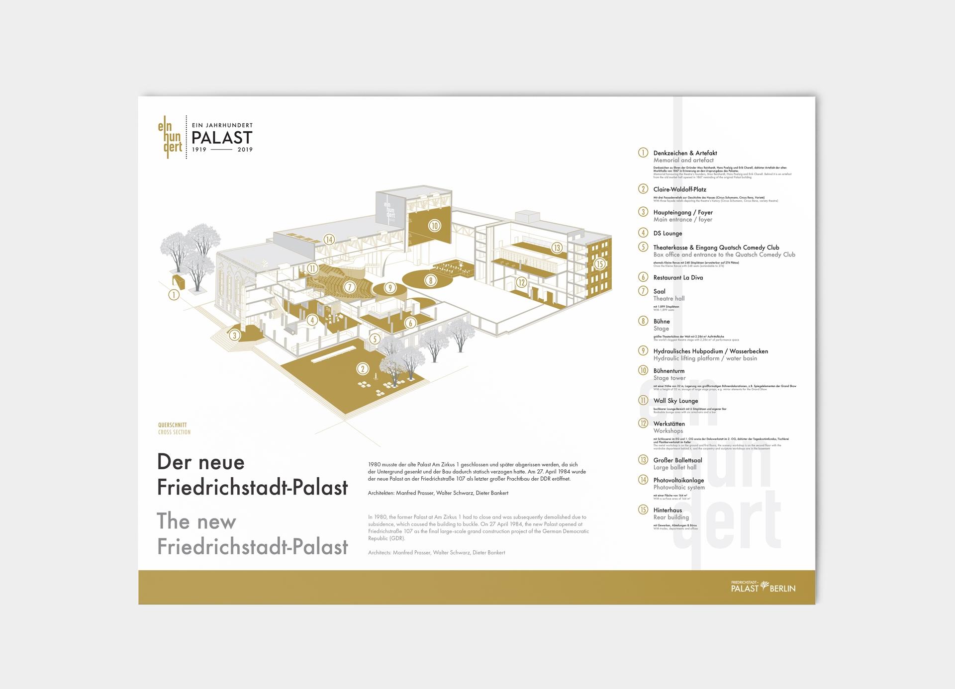 Karte der Friedrich-Stradt-Palast Veranstaltung mit Legende im neuen Design.