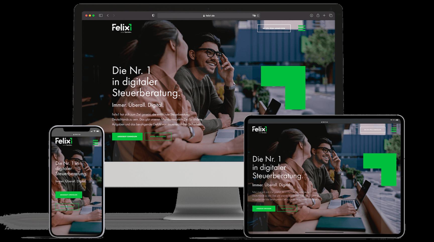 Mockup von verschiedenen Endgeräten für die Felix1-Website. Zu sehen sind ein Computer, ein Tablet, sowie ein Handy.