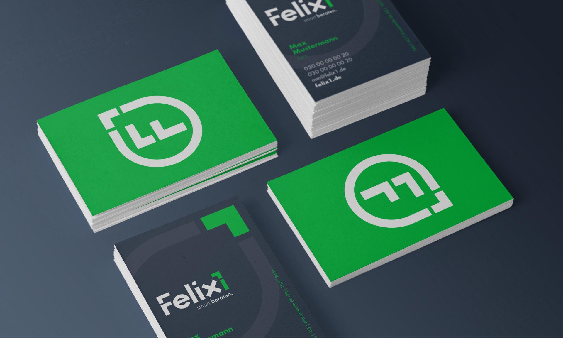 Corporate Design Beispiele für Felix1 - im Detail: Mockups für Visitenkarten.