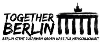 Schwarzes Logo von Together Berlin auf weißem Hintergrund: Zu sehen ist ein stilisierter Schriftzug mit einer ebenso stilisierten Darstellung des Brandenburger Tors.